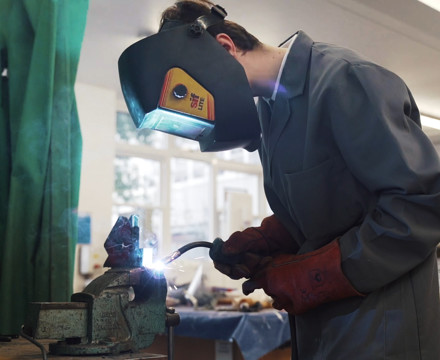 Sixth Form student welding in DT